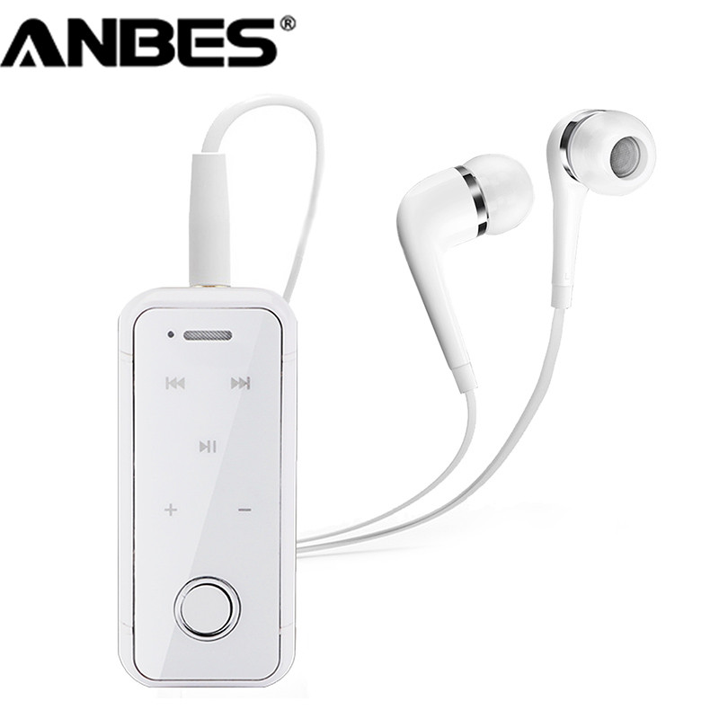 ANBES Clip On Wireless Bluetooth Headset Earphone Headphone Sport Stereo Music Auriculares For Xiaomi Samsung iPhone Laptop wireless bluetooth 4 1 earphone headphone for iphone samsung headset stereo sport studio music handsfree mic mp3 accessories
