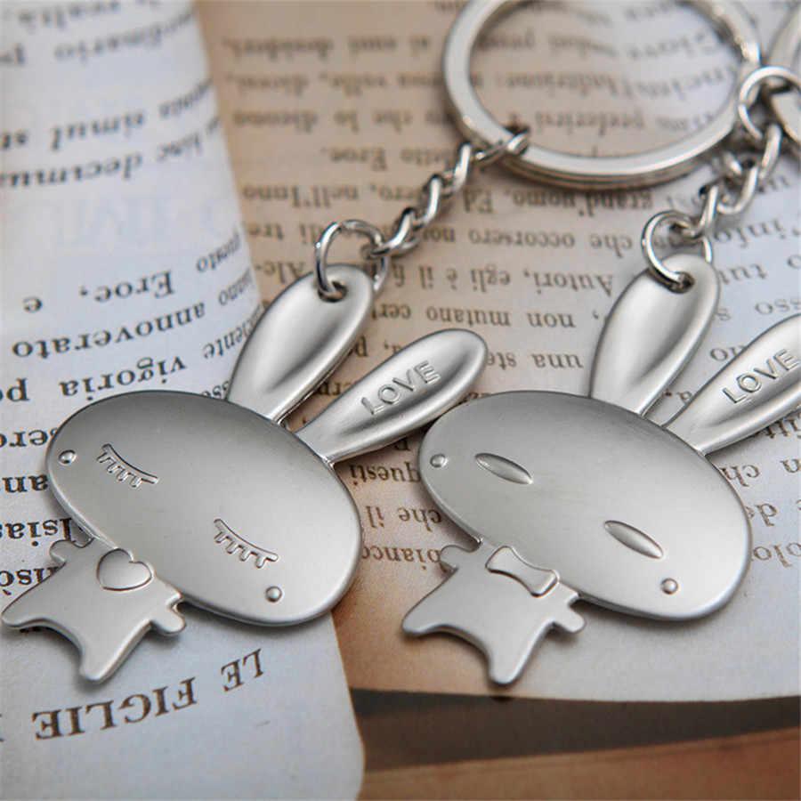 Amantes do coelho Encantos Jóias Acessórios Carro Saco Chaveiro Liga Anel Chave Criativo Bonito Pingente Berloque de Férias Melhor Presente YS037