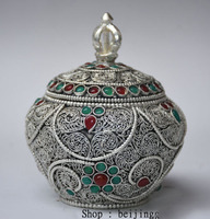 Christmas 3 Collect Rare Tibet Silver Filigree Inlay Gem Jewelry Pot Jar Crock Decoration Halloween