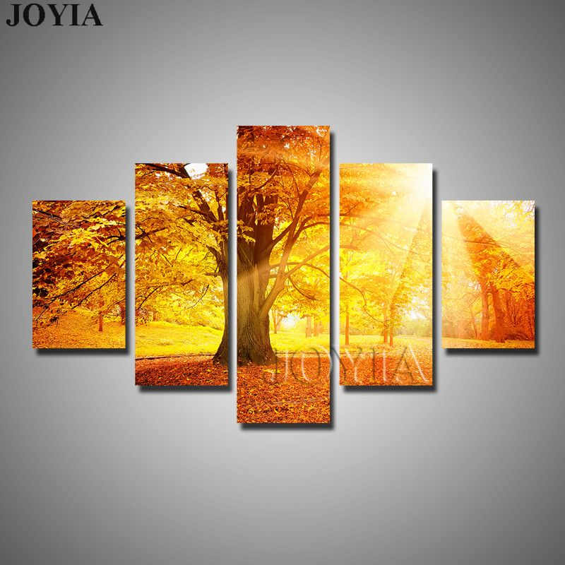 5 Piece Canvas Prints Beautiful Forest Trees Autumn Fog Sunshine ...