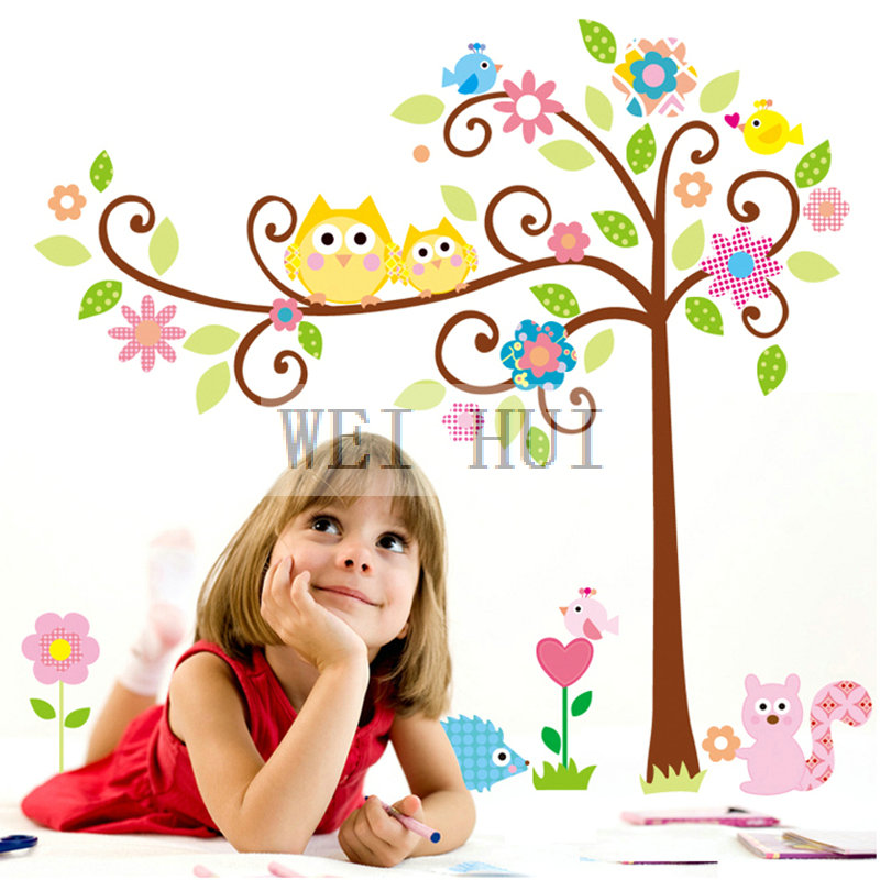 Cute Owl Bird Flower Squirrel Animal Plant Vinyl Mural Art Wall Sticker Decal Art Sticker Wall Poster for kid nursery children