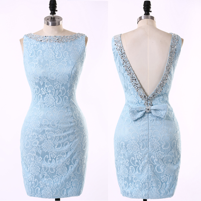 Popular short light blue bridesmaid dresses buy cheap for Short light blue wedding dress