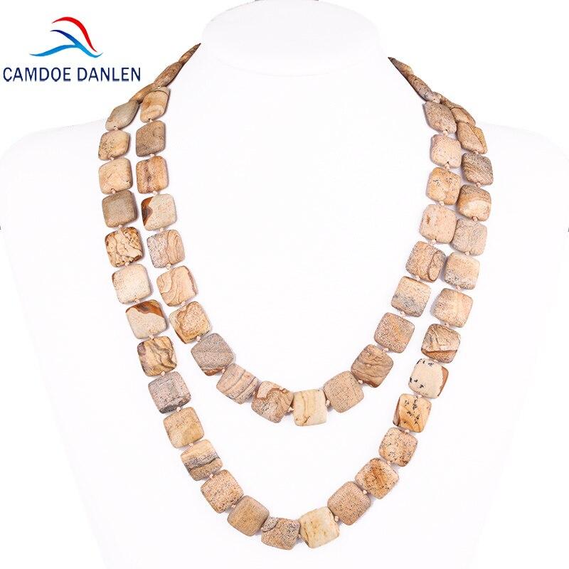 Twenty Style Natural Stone Square Bead Trendy Necklace Long Rope Chain Fashion Women Classic Jewelry Chokers Necklace & Pendants stylish circle bead layered chokers necklace