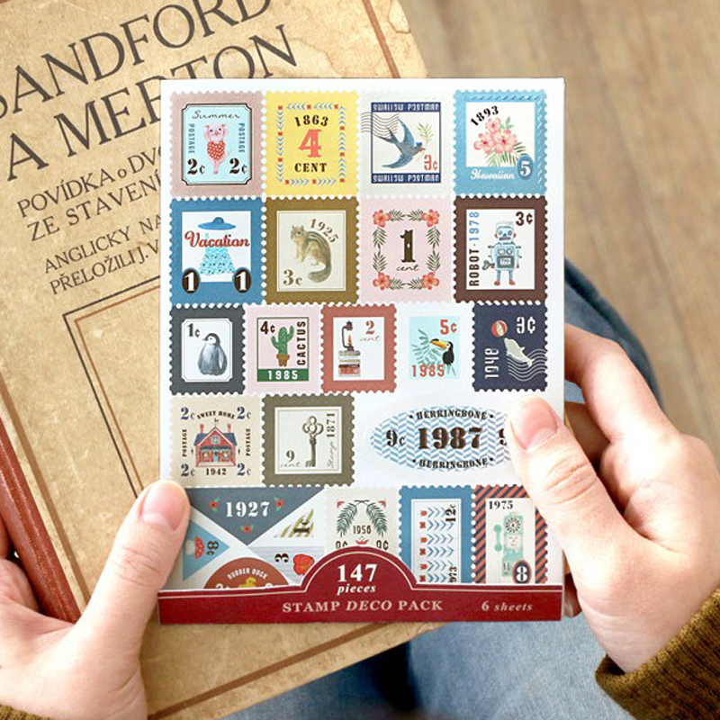 6 Pcs/Lot Midori Traveler Notebook Stamp Sticker Vintage Cowhide Travel Diary Album Stationery Sticker Tz22