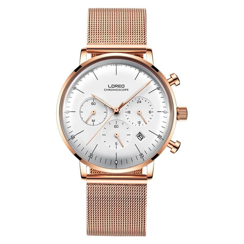 LOREO 6112 Germany Bauhaus watches rose gold Multifunction Calendar Chronograph sapphier fashion cheap business watch loreo 6112 germany bauhaus watches newest 316l stainless steel chronograph fashion elegant quartz watch
