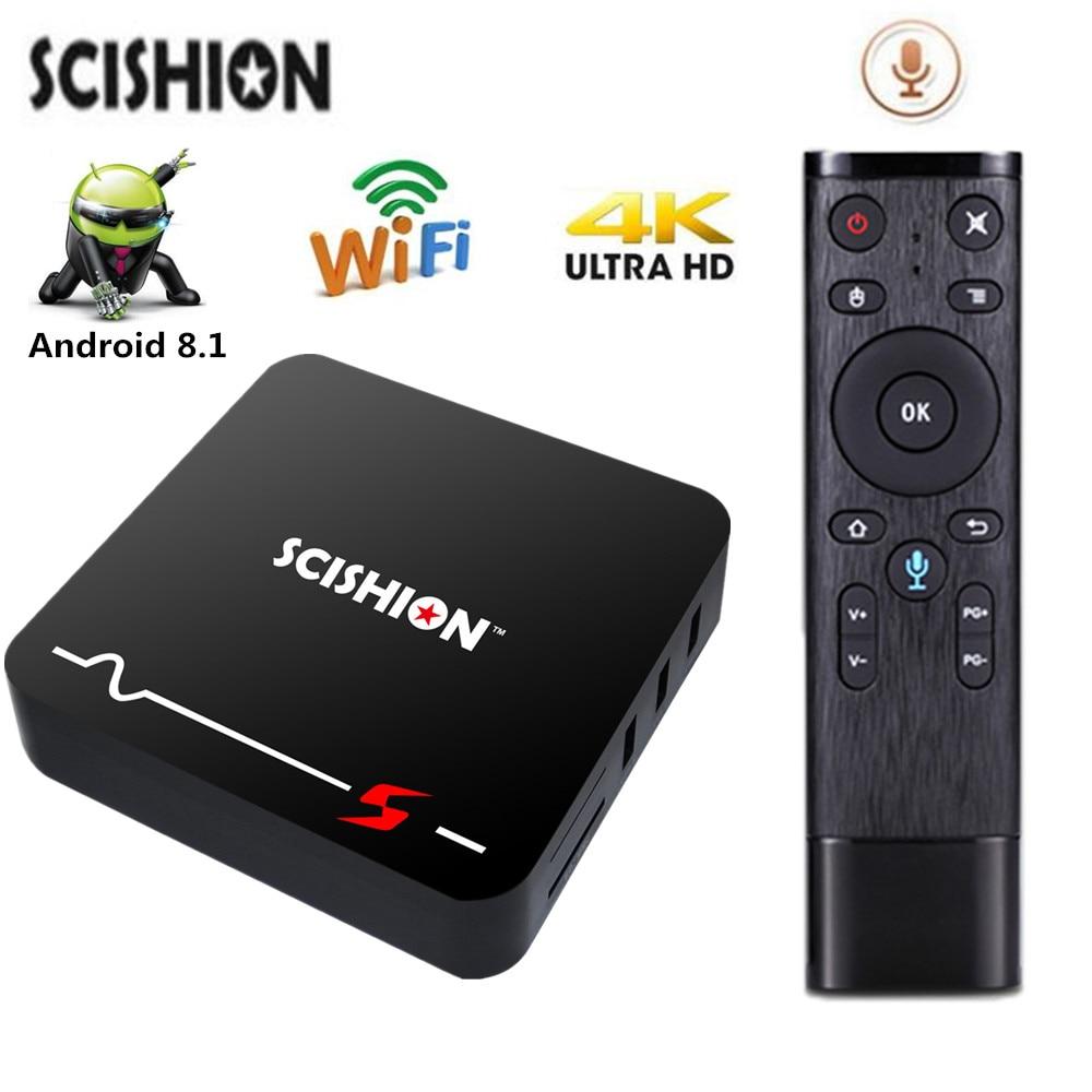SCISHION MODEL S Smart TV Box Android 8.1 Mali-400 Set Top Box 2GB/16GB RK3229 2.4G WiFi 100Mbps 4K TV Box Smart Media Player dolamee d5 rk3229 4k tv box tronsmart tsm01