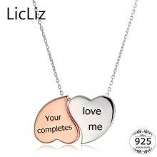 LicLiz ожерелье с двойным сердцем для женщин 925 серебряное ожерелье с подвеской в виде сердца ожерелье для девушек с буквенным принтом Чокер-цепочки воротник LN0229