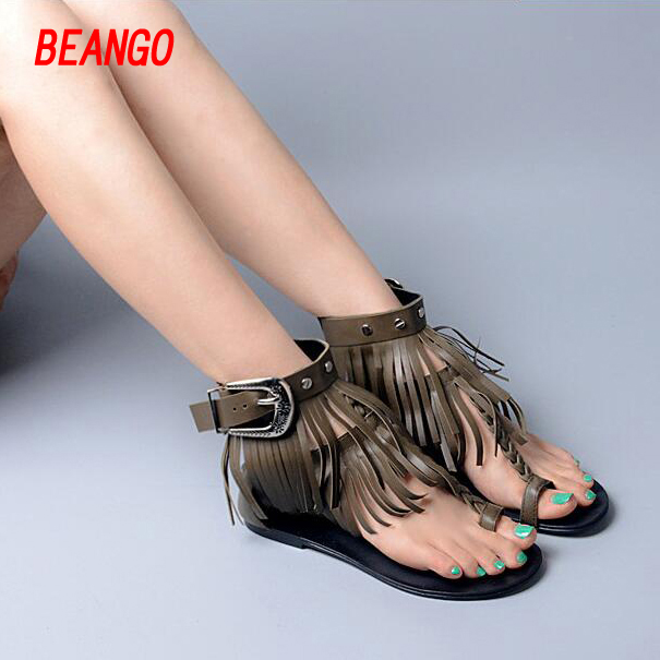 BEANGO Genuine Leather Women Solid Color Sandals Fringed Ankle Strap Gladiator Flip Flops Summer Flat Shoes Woman size 34-41  nigrin 75012 антифриз ultra plus 12 g12 4л