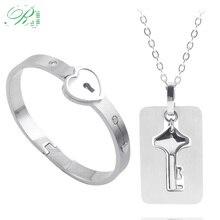 RJ A Set Couple Bracelet His Queen Her King Pendants Cupid Love Heart Lock Key Stainless Steel Choker Lover Keyring Men Jewelry