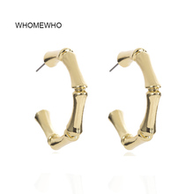 WHOMEWHO 35mm Gold Hammered Metal Summer Beach C Letter Alphabet Minimalism Earrings Korean Fashion Jewelry Party Ear Accessory