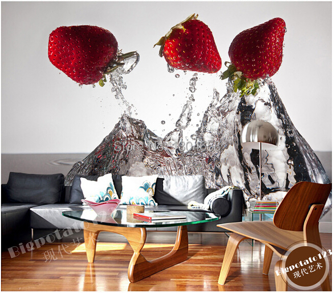 Custom photo wallpaper, creative fruit strawberry for the living room TV backdrop of vinyl wallpaper Papel de parede custom baby wallpaper snow white and the seven dwarfs bedroom for the children s room mural backdrop stereoscopic 3d