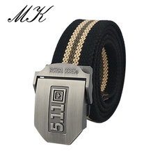 Maikun Metal Automatic Buckle Canvas Belts for Men Military Tactical Belt Casual Style