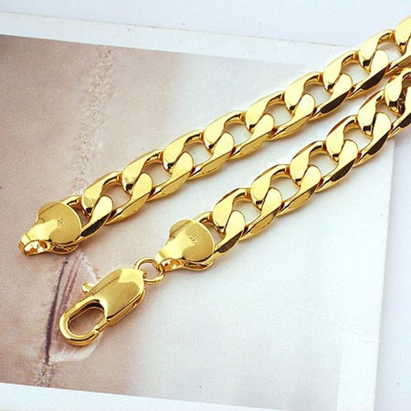 na veliko Teška! Klasična muška žuto zlatna zlatna ogrlica od - Modni nakit