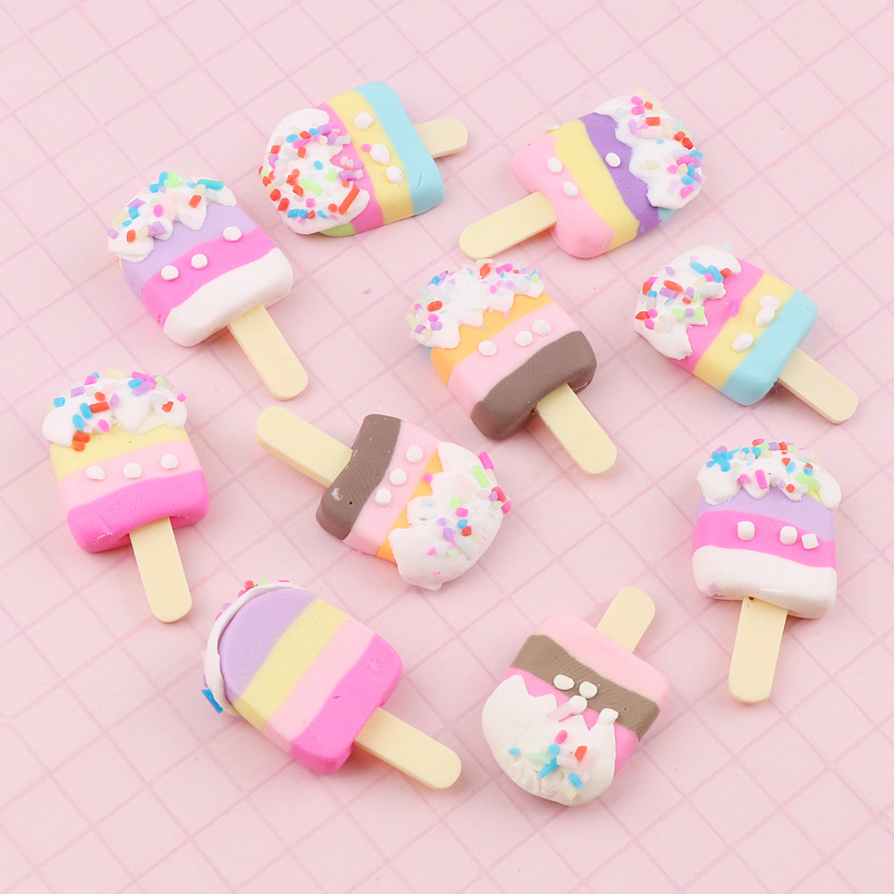 10pc 18*30mm High Quality Beauty Mix Colors Kawaii Spiral Ice Cream Polymer Clay Cabochons Flatback For DIY Phone Decoration
