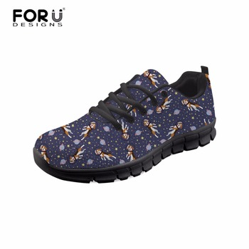 FORUDESIGNS Women Casual Sneakers Beagle Great Dane Floral Printed Ladies Flat Shoes Teen Girls Lace-up Shoes Rubber on Shoes