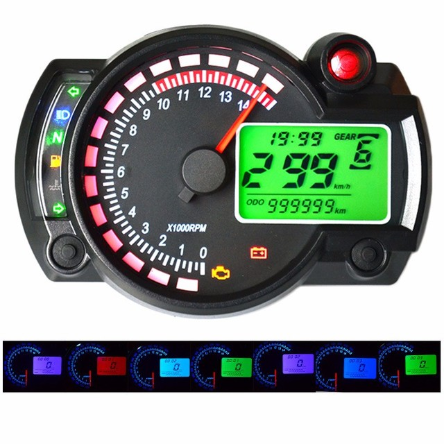 299 mphkph 7 color adjustable motorcycle tachometer digital 299 mphkph 7 color adjustable motorcycle tachometer digital speedometer lcd digital odometer universal for sciox Choice Image