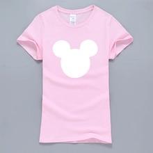 Mouse Head Cartoon Women T-Shirt 2017 Hot Sale Summer T-Shirt Women Harajuku Tops Kawaii T Shirts For Lady K-pop Pink Tshirt