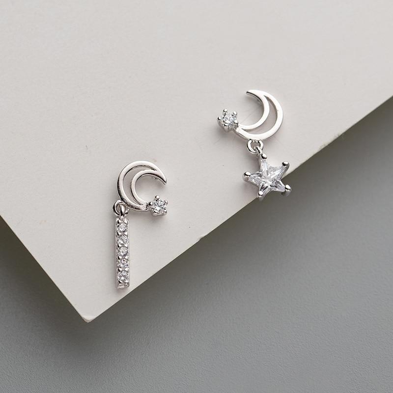 Flyleaf 925 Sterling Silver Earrings For Women Gold Star Moon Asymmetry Cubic Zirconia Simple Drop Earings Fashion Jewelry in Earrings from Jewelry Accessories