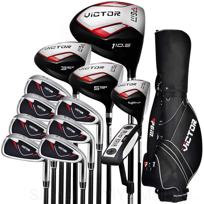 PGM-Victor Golf Adult Cue Kit Junior Clubs Golf Driver Men's Complete Set Clubs /Covers Full Set Putters Wood Irons Standard Bag protective golf club head covers set black 3 pieces pack