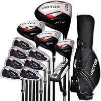 PGM Victor Golf Adult Cue Kit Junior Clubs Golf Driver Men's Complete Set Clubs /Covers Full Set Putters Wood Irons Standard Bag