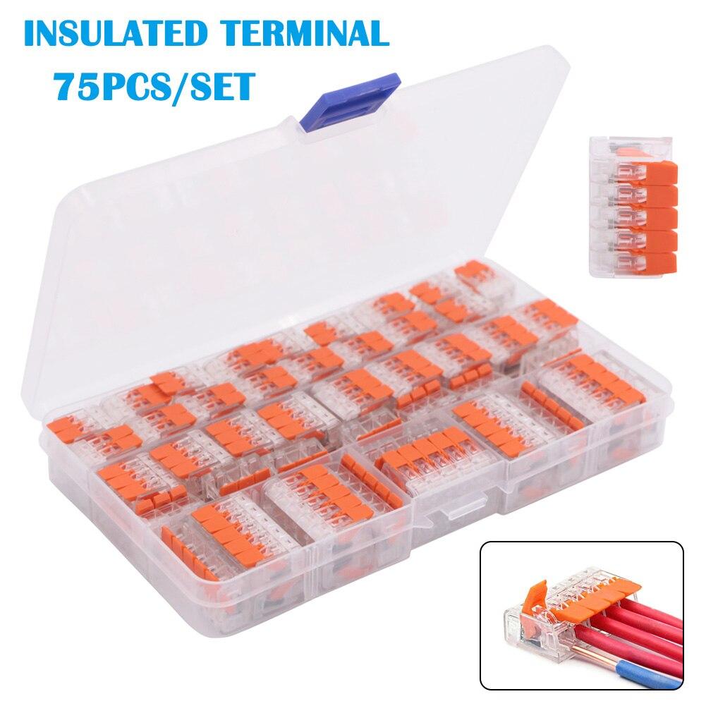 75Pcs/Set Splicing Conductor Terminals Connectors Assortment Pack TN88|Terminals| |  - title=