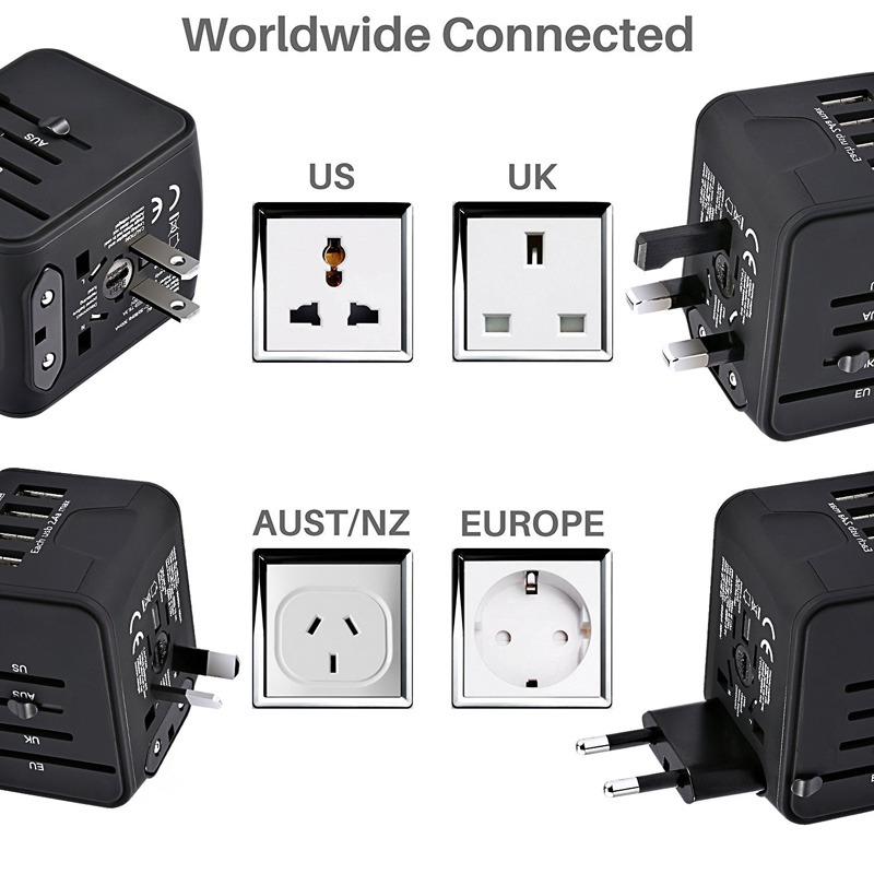 Wearpai Travel Adapter International Universal Power Adapter Charger for UK/EU/AU/Asia