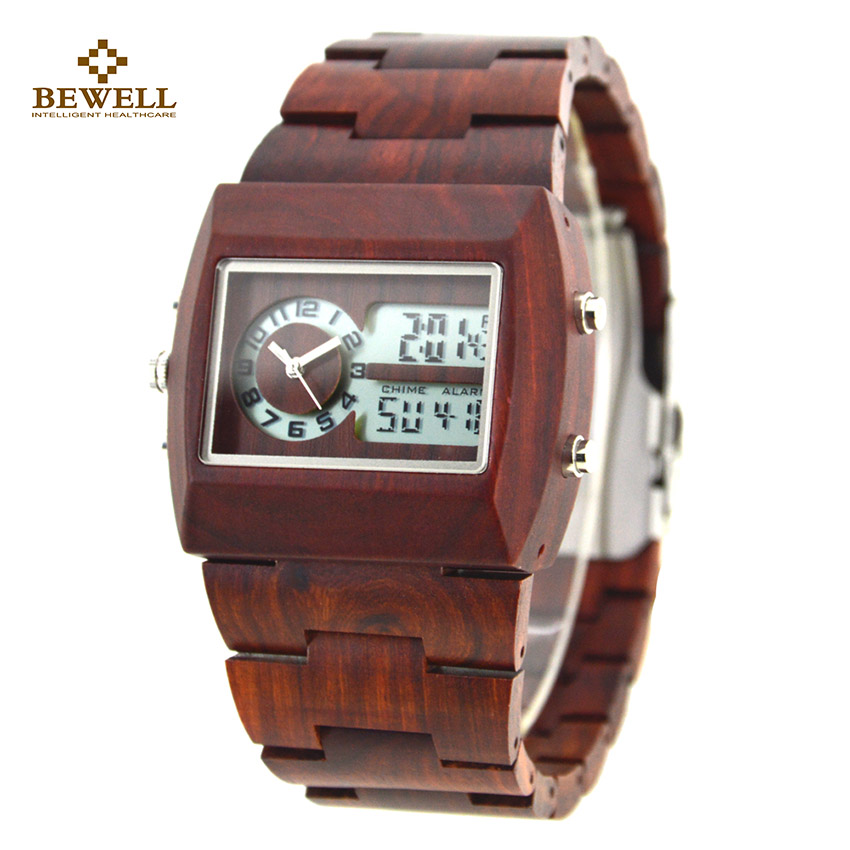 BEWELL Luxury Wood Watches Luminous Display Square Business Watch with Wooden Strap for Man Watches Christmas Family Gift 021A bewell fashion luxury brand wooden watch for man round dial date display wristwatch and luminous pointers wood watch zs 109a