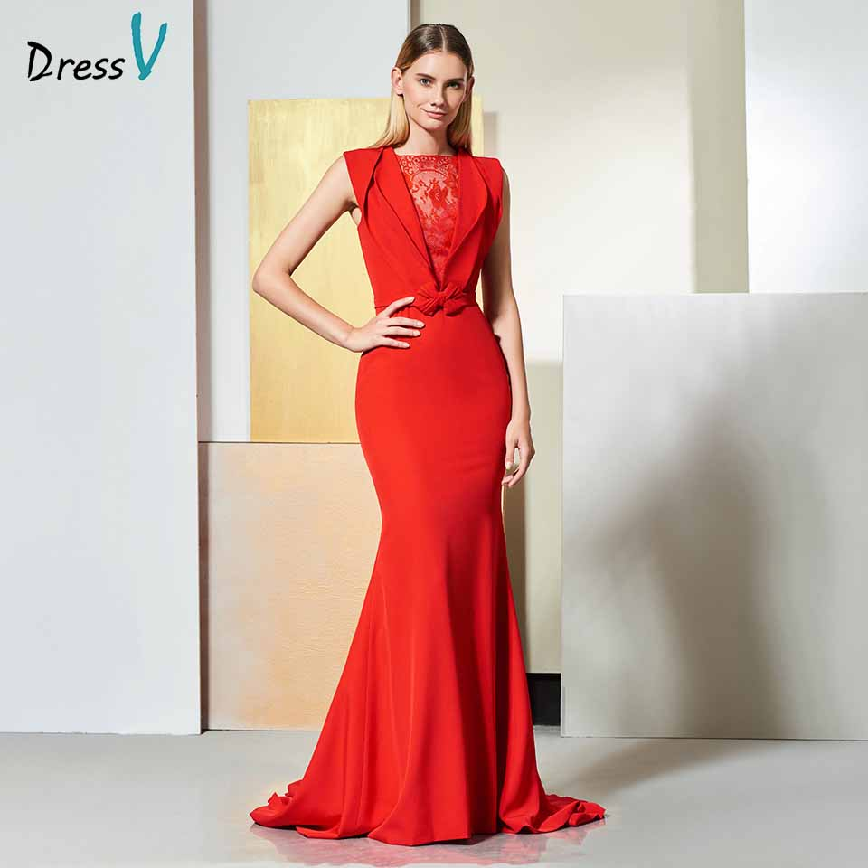 Dressv elegant red evening dress sleeveless bowknot lace mermaid court train wedding party formal dress trumpet evening dresses