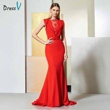 Dressv zarif kırmızı akşam elbise kolsuz ilmek dantel mermaid mahkemesi tren gelinlik parti resmi elbise trompet abiye elbiseler
