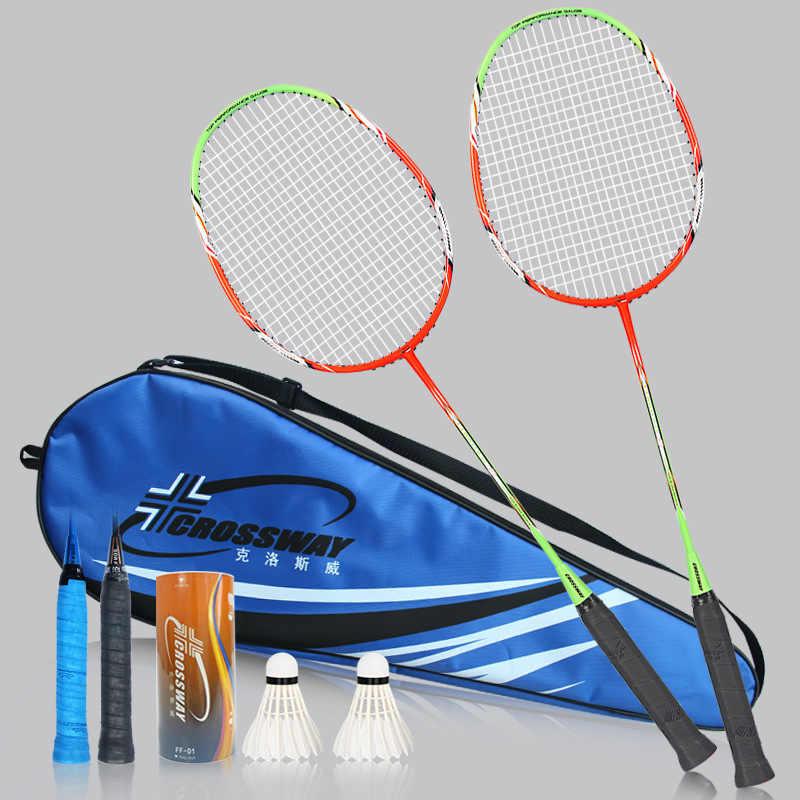 CROSSWAY 2 piezas de carbono de Bádminton de doble juego internacional de bádminton raquetas de bola, equipo raqueta a con bolsa