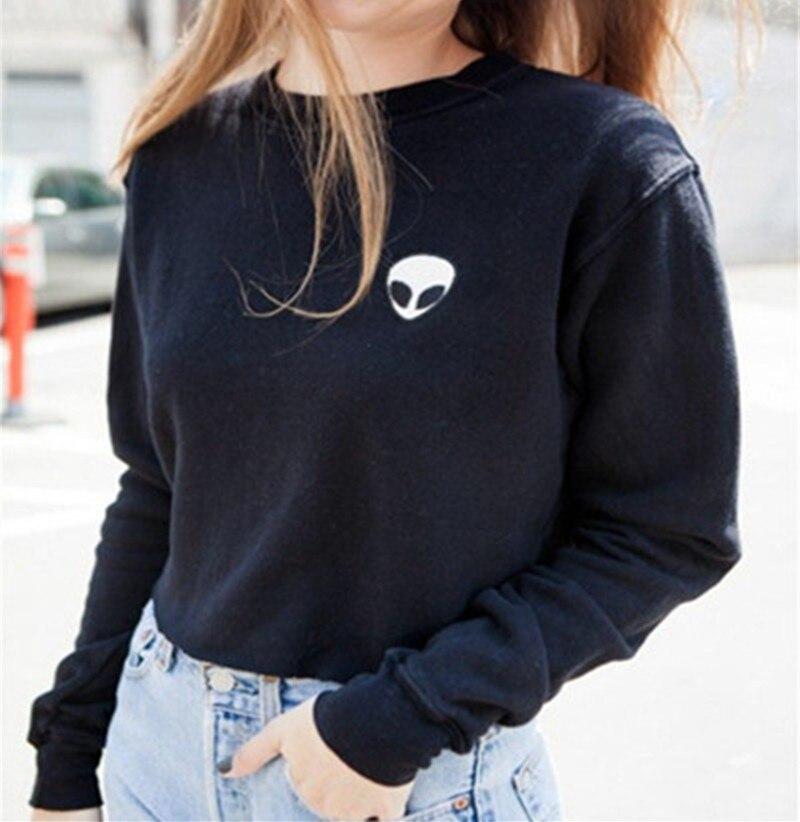 VI Fashion H172 Fashion Streetstyle Alien Pattern O-Neck Full Sleeve Women Tops 2015 New Casual Autumn SweatShirt