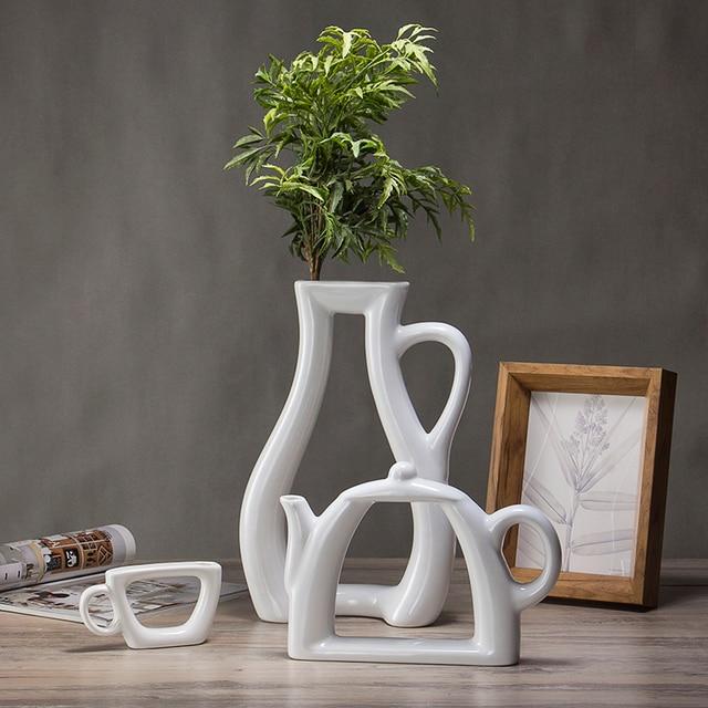 The Nordic Modern Minimalist White Ceramic Vase Ornaments Creative Living Room Decorative Crafts Home Furnishing Cabinet