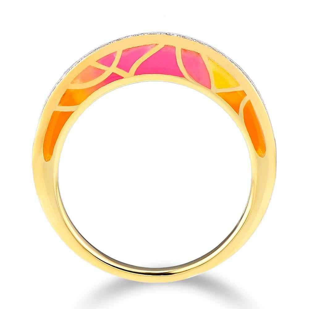 SANTUZZA แหวนเงินแท้ 100% 925 เงินสเตอร์ลิงสีทอง Cz แฟชั่นเครื่องประดับหญิงเคลือบทำด้วยมือ