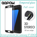High Quality Real Full Cover 3D Tempered Glass Screen Protector Protective Film Pelicula de vidro For Samsung Galaxy S7 Edge