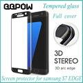 Real de alta calidad de la cubierta completa 3d protector de pantalla de cristal templado de la película protectora pelicula de vidro para samsung galaxy s7 edge