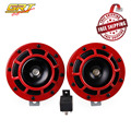 GRT - Free Shipping 2PC Red Super Loud Grill Mount Compact 12V Electric Blast Tone Horn Kit