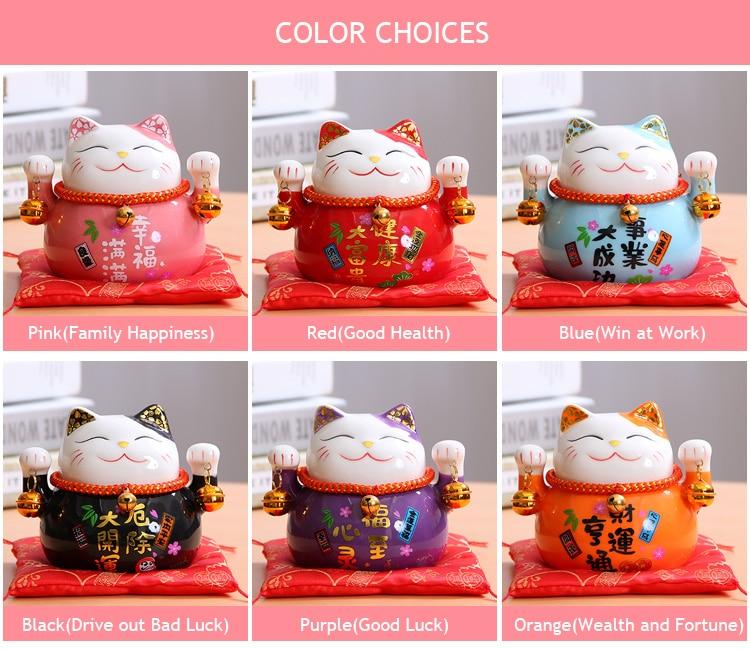 Foto colores Maneki Neko (Gato de la suerte) de cerámica