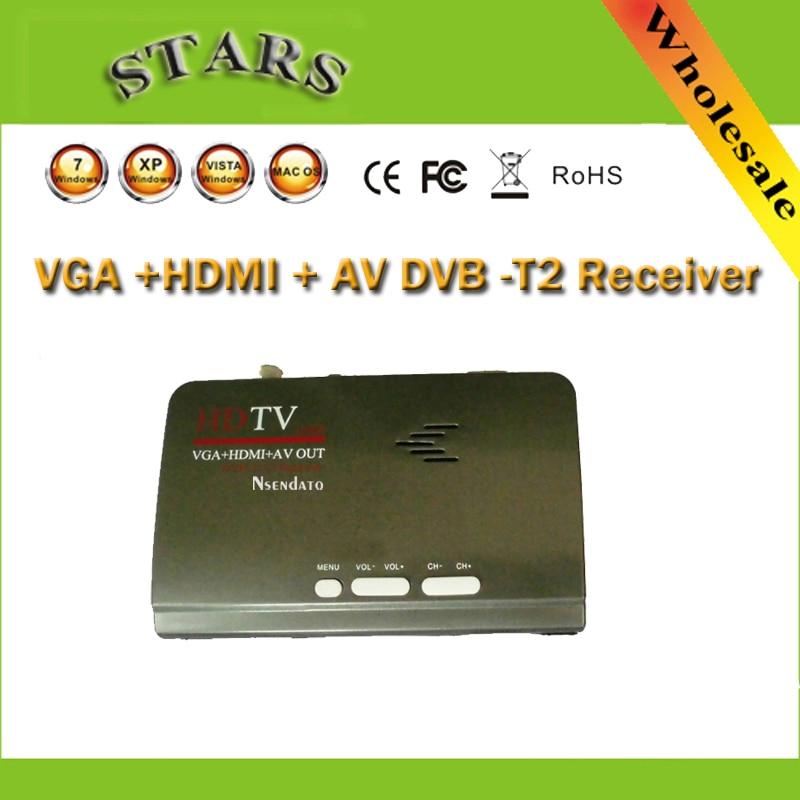 HDMI digital dvb-t T2 dvbt2 TV box VGA AV cvbs TV Convertidor con USB DVB-T2 sintonizador para MPEG 4 h.264 con Control remoto