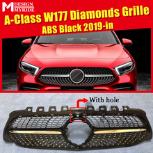 W177 A class Sports Diamonds grille grill With Camera ABS gloss Black A180 A200 A250 C63 look Front grills Without Sign 2019-in