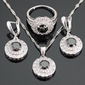 Christmas Gift Silver Color Party Jewelry Sets For Women Round Black White Stones Necklace/Pendant/Rings/Earrings Free Box