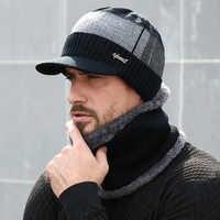2019 hiver chapeaux pour hommes Skullies Beanie chapeau hiver casquette hommes femmes laine écharpe casquettes ensemble cagoule masque Gorras Bonnet tricoté chapeau