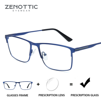 9270fed45c ZENOTTIC cuadrado aleación gafas de prescripción hombres anti-rayos azules gafas  ópticas hiperopía miopía gafas fotocrómicas macho 2019