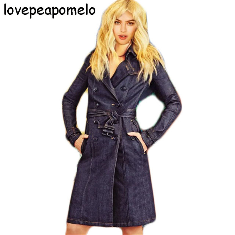 Trench-Coat Denim Long Women's Double-Breasted New Lovepeapomelo For Fall/winter Jeans