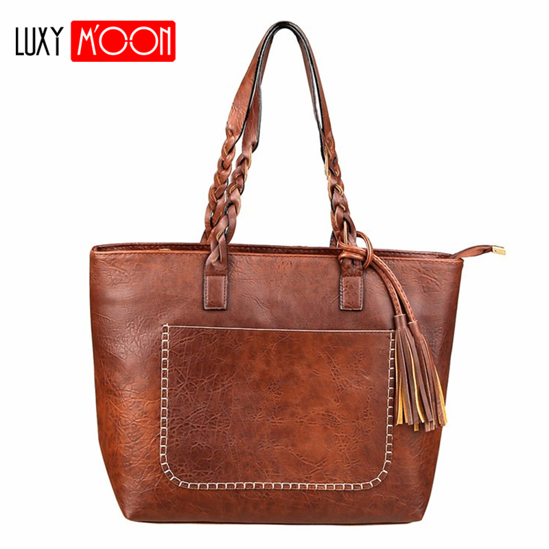 Luxy Moon PU Leather Tassel Women Handbags Work Tote Vintage sac a main High Quality Shopping Fashion Large Handle Shoulder Bag tote bags for work