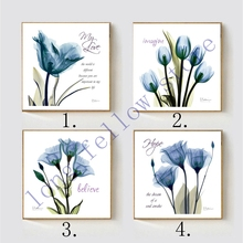 Blue Flower Home Decorations Nordic Poster Wall Art Canvas Print Flowers Painting for Kitchen Dining Room Decor Gift