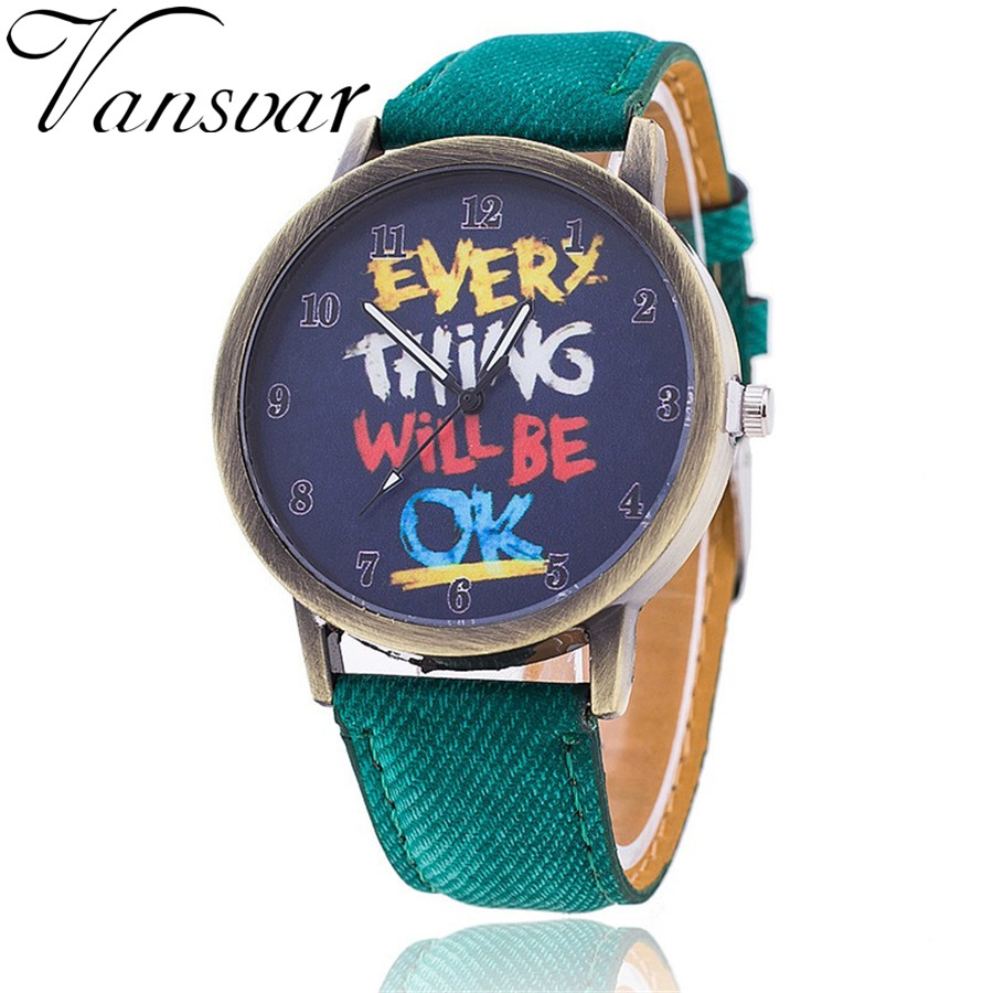 Vansvar Brand Vintage Women Leather Everything Will Be OK Watch Fashion Casual Women Wristwatch Relogio Feminino 729