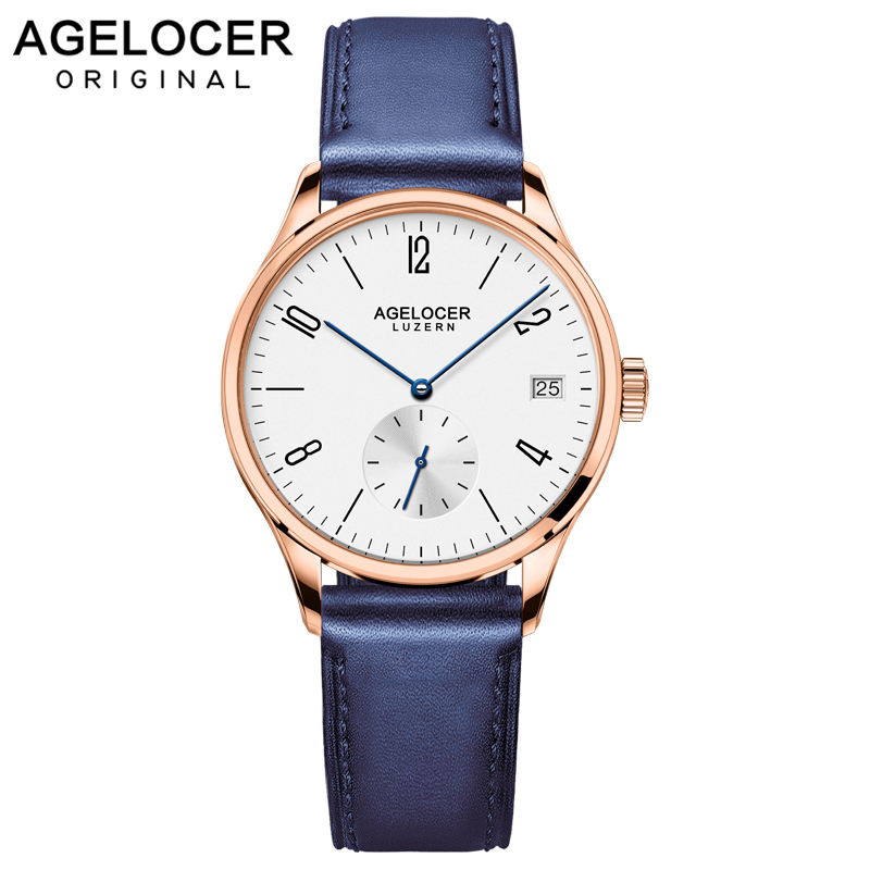 Original Brand Agelcoer Luxury Automatic Watch Gold Watch Leather Strap Watch Waterproof Women Watches 1202D6