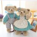 2 pcs 14Inch 35cm Couple Teddy Bear Plush Stuffed Toys Joint Bear With Dress Chrismas Gift Kids Toys