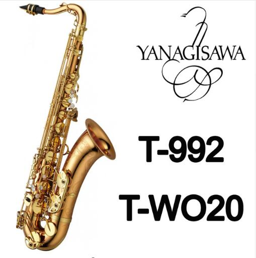 YANAGISAWA T-WO20 T-992 B Flat Tenor Saxophone Gold Lacquer Brass Bb Sax Professional Performance instruments With Case, Gloves 2018 japan yanagisawa new tenor saxophone t 992 b flat tenor saxophone gold key yanagisawa sax with accessories professionally