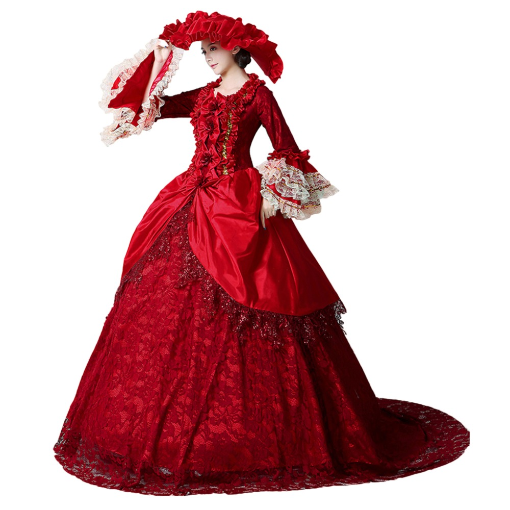 Medieval Renaissance Southern Belle Costumes Ball Gown red party medieval dress